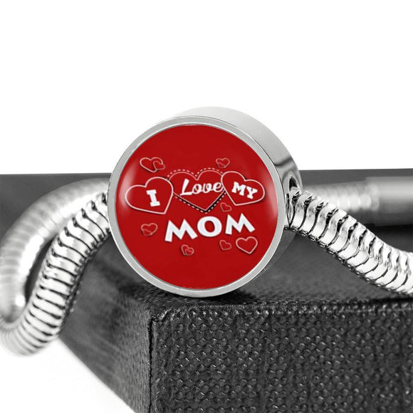 'I Love MY MOM' Red Print Circle Charm Steel Bracelet-Free Shipping