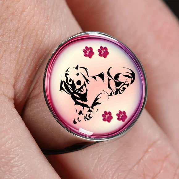 Golden Retriever Dog Print Signet Ring-Free Shipping