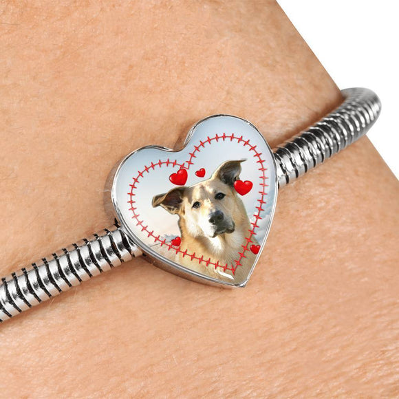 Chinook Dog Print Heart Charm Steel Bracelet-Free Shipping