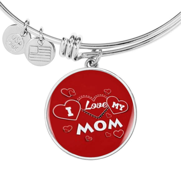 'I Love MY MOM' Red Print Circle Pendant Luxury Bangle-Free Shipping