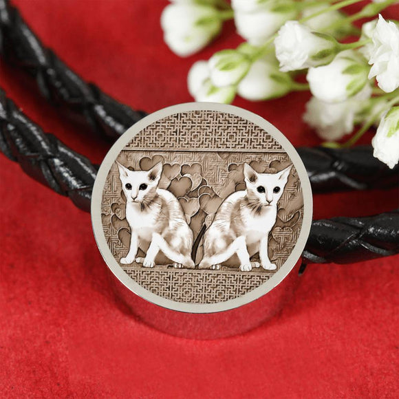 Oriental Shorthair Cat Print Circle Charm Leather Bracelet-Free Shipping
