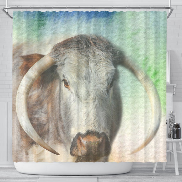 English Longhorn Cattle (Cow) Print Shower Curtain-Free Shipping