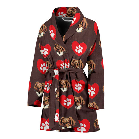 Tibetan Spaniel Patterns Print Women's Bath Robe-Free Shipping