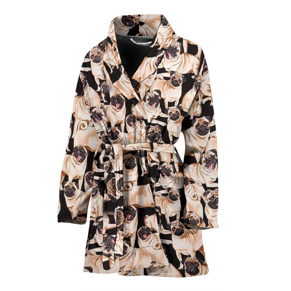Pug In Lots Print Women's Bath Robe-Free Shipping