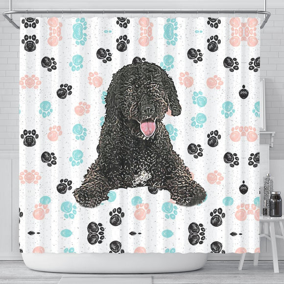 Spanish Water Dog Print Shower Curtain-Free Shipping