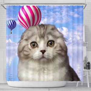 Cute Scottish Fold Cat Print Shower Curtains-Free Shipping