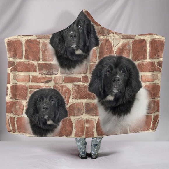 Newfoundland Dog Print Hooded Blanket-Free Shipping