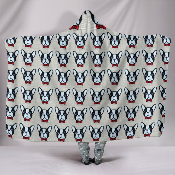 French Bulldog Pattern Print Hooded Blanket-Free Shipping