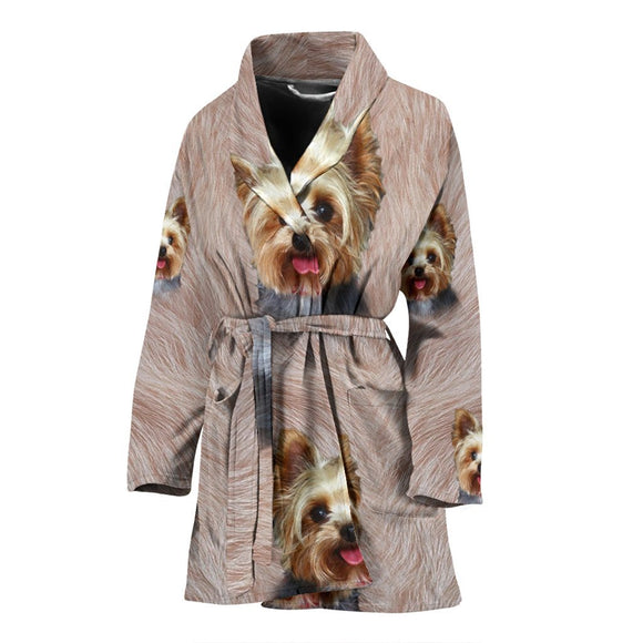 Lovely Yorkshire Terrier Print Women's Bath Robe-Free Shipping