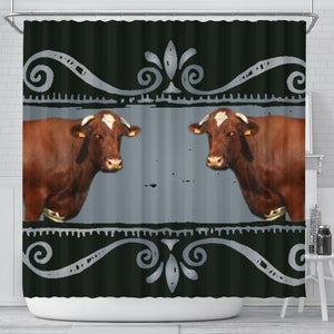 Maine Anjou Cattle (Cow) Print Shower Curtain-Free Shipping