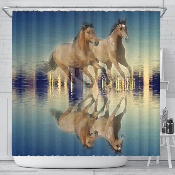 Amazing Mountain Pleasure Horse Print Shower Curtain-Free Shipping