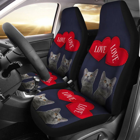 Russian Blue Cat Love Print Car Seat Covers-Free Shipping