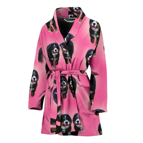 Amazing Bernese Mountain Dog Print Women's Bath Robe-Free Shipping