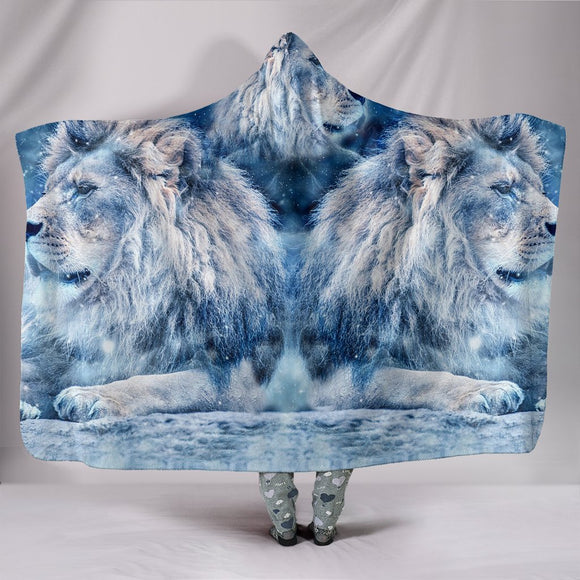 Snowy Lion Print Hooded Blanket-Free Shipping