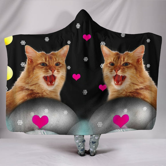 Somali cat Print Hooded Blanket-Free Shipping