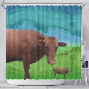 Amazing Danish Red cattle (Cow) Print Shower Curtain-Free Shipping