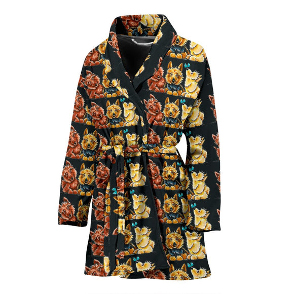 Australian Terrier Dog Pattern Print Women's Bath Robe-Free Shipping