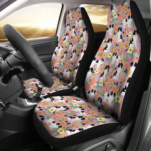 Japanese Chin Dog Floral Print Car Seat Covers-Free Shipping