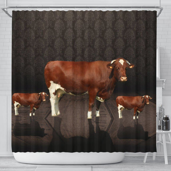 Amazing Maine Anjou Cattle (Cow) Print Shower Curtain-Free Shipping