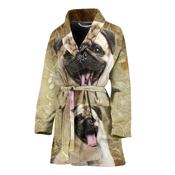 Laughing Pug Print Women's Bath Robe-Free Shipping