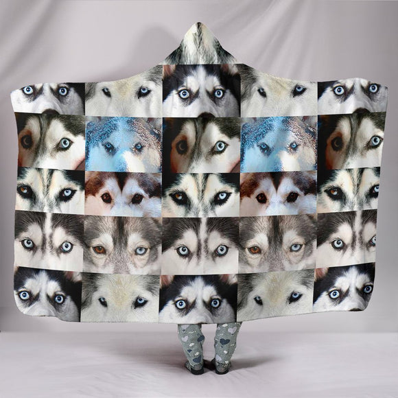 Siberian Husky Dog Eyes Print Hooded Blanket-Free Shipping
