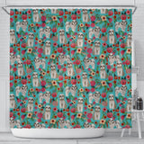Shih Tzu Dog Floral Print Shower Curtains-Free Shipping