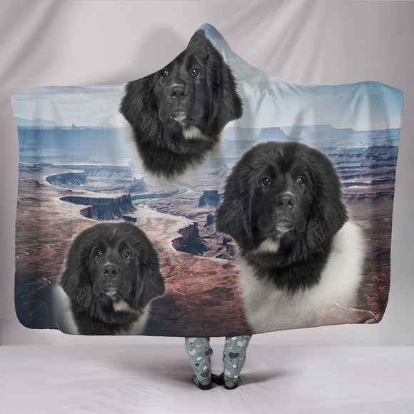Cute Newfoundland Dog Print Hooded Blanket-Free Shipping
