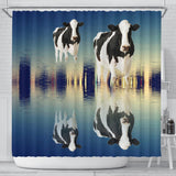 Girolando Cattle (Cow) Reflection In Water Print Shower Curtain-Free Shipping