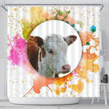 Colorful Hereford Cattle (Cow) Print Shower Curtain-Free Shipping