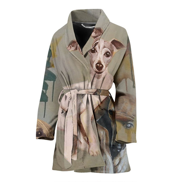 Greyhound Dog Print Women's Bath Robe-Free Shipping