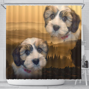 Lovely Shih Tzu Print Shower Curtains-Free Shipping