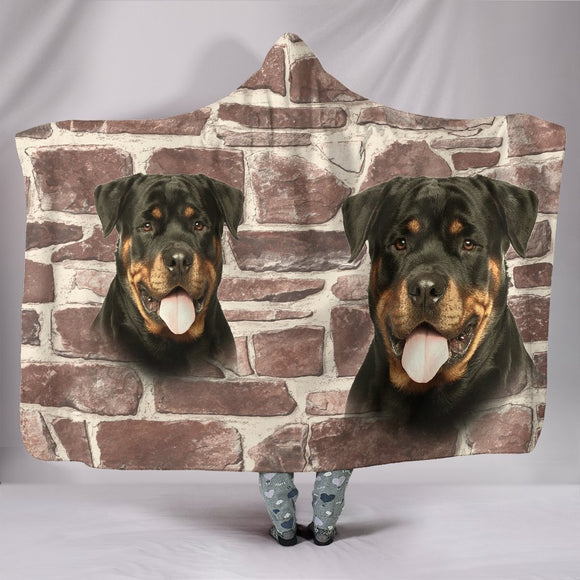 Rottweiler Dog Print Hooded Blanket-Free Shipping