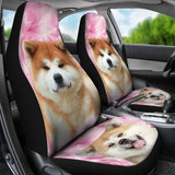 Akita Dog On Pink Print Car Seat Covers-Free Shipping