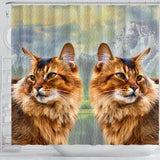 Amazing Somali Cat Print Shower Curtains-Free Shipping