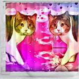 Manx Cat Print Shower Curtain-Free Shipping
