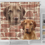 Wirehaired Vizsla On Wall Print Shower Curtains-Free Shipping