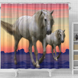 White Lusitano Horse Print Shower Curtain-Free Shipping