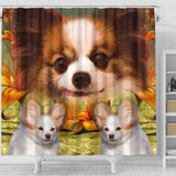 Papillon Dog Print Shower Curtains-Free Shipping