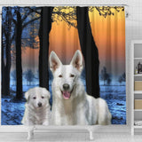 Cute White Shepherd Print Shower Curtains-Free Shipping