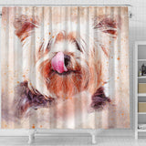 Yorkie Vintage Art Print Shower Curtains-Free Shipping