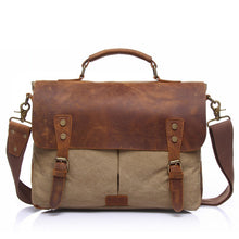 Load image into Gallery viewer, Canvas Messenger Bag | Laptop Bag | Satchel Bag, Canvas Messenger Bag with genuine leather - trendyful