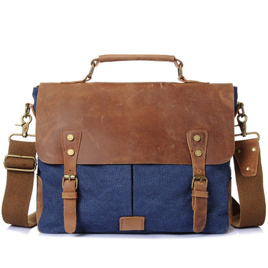 Canvas Messenger Bag | Laptop Bag | Satchel Bag, Canvas Messenger Bag with genuine leather - trendyful