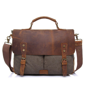 Lincoln Canvas Messenger Bag | Laptop Bag | Satchel Bag, Canvas Messenger Bag with genuine leather - trendyful
