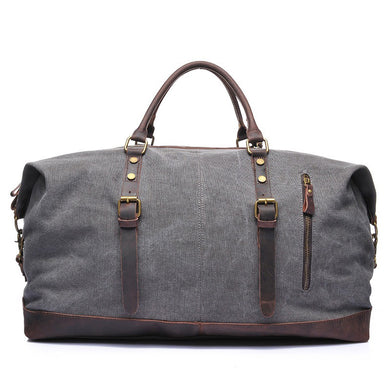 Canvas Genuine Leather Weekender Duffle bag, Canvas Weekender Duffel Bag - trendyful