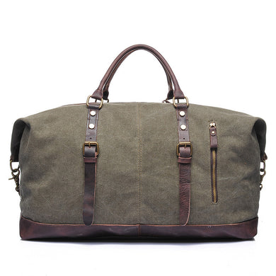 Explorer Canvas Genuine Leather Weekender Duffle bag, Canvas Weekender Duffel Bag - trendyful