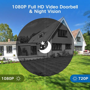 Full HD Video Doorbell, 1 Ring Indoor Chime, 32 GB Micro SD Card, Video doorbell - trendyful
