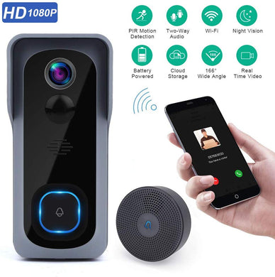 Full HD Video Doorbell, 1 Ring Indoor Chime, 32 GB Micro SD Card - trendyful