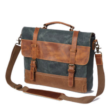 Load image into Gallery viewer, Saxon Waterproof Vintage Waxed Canvas Genuine Leather Laptop Bag 15 inch, Canvas Messenger Bag - trendyful