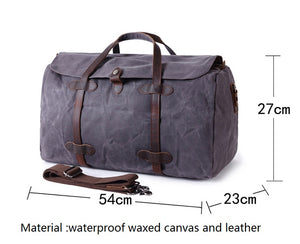 Weekender Bag - Waxed Canvas and Genuine Leather, Weekender Bag - Waxed Canvas and Genuine Leather - trendyful