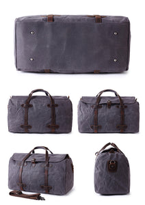 Weekender Bag - Waxed Canvas and Genuine Leather - trendyful
